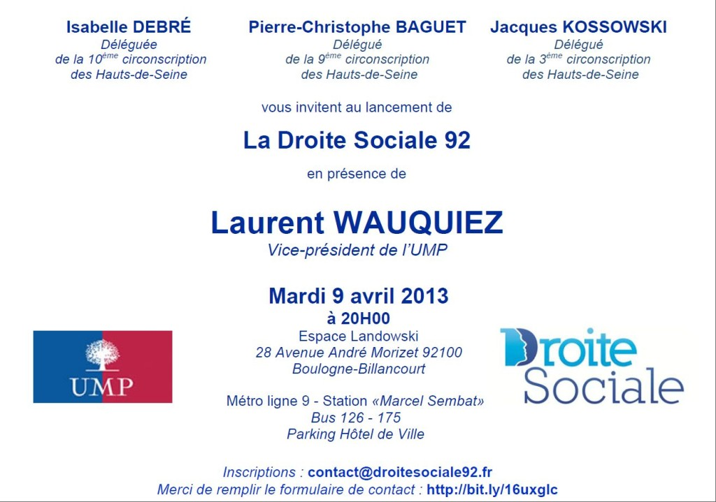 Invitation au lancement de la Droite Sociale 92